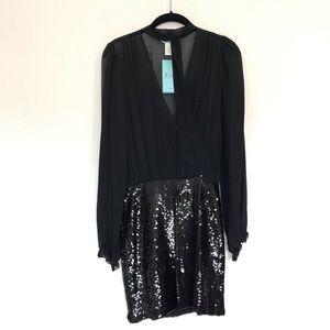 Marciano black sheer blouse sequin mini dress